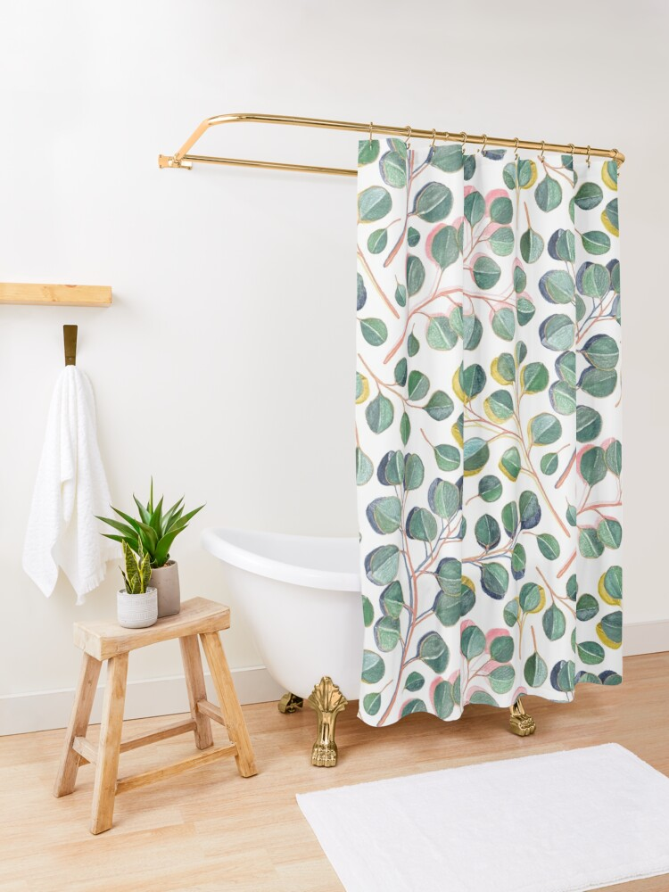 Alternate view of Simple Silver Dollar Eucalyptus Leaves Shower Curtain