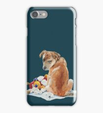 cute brown puppy with torn teddy bear iPhone Case/Skin