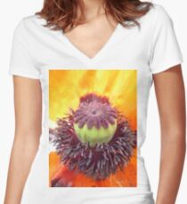 Middle of a Poppy Women's Fitted V-Neck T-Shirt