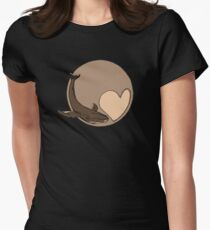 Pluto: Whale and Heart Women's Fitted T-Shirt