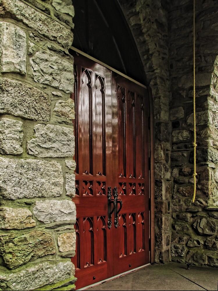 Stone Church Doors by Pamela Phelps