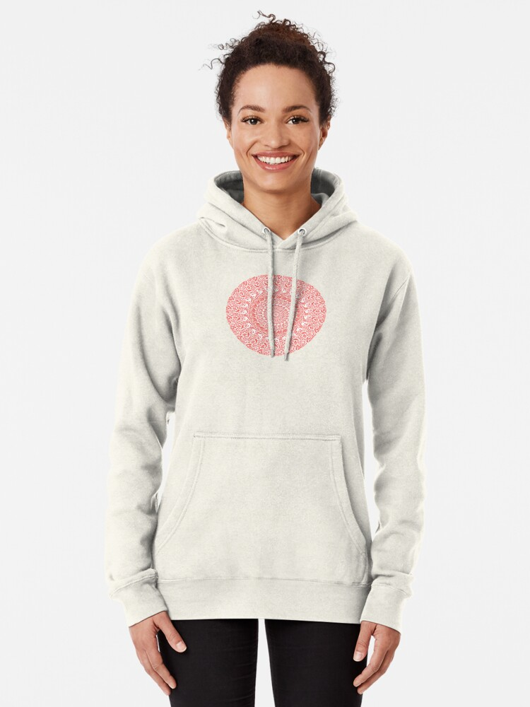 Alternate view of Coral and White Mandala Pullover Hoodie