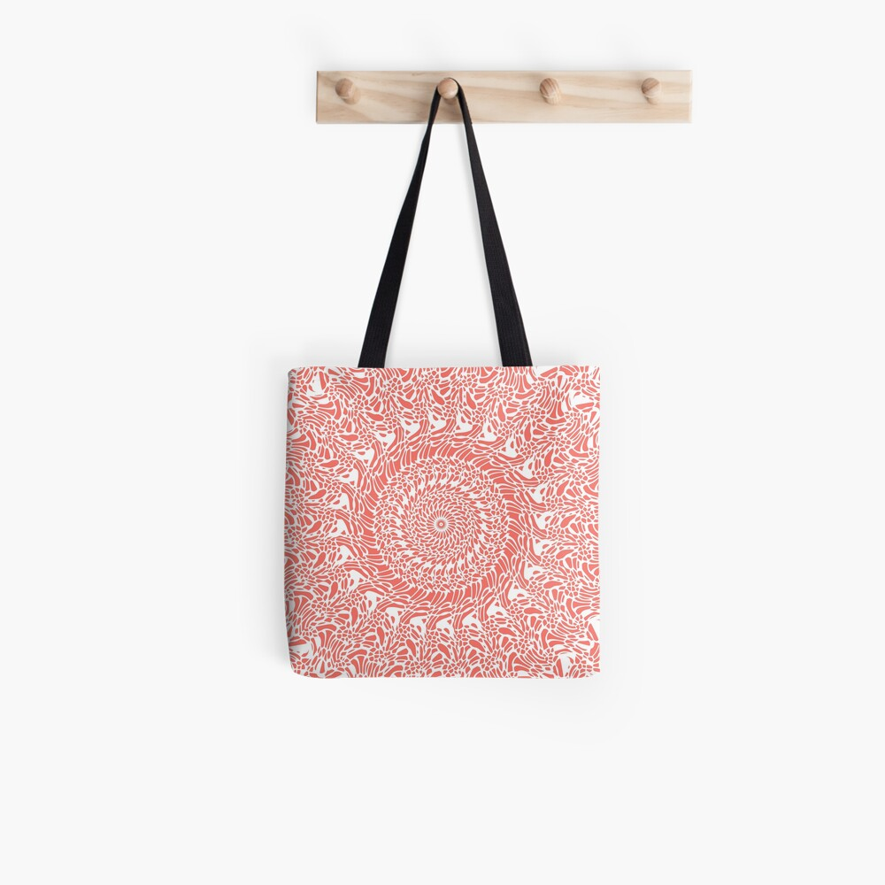 Coral and White Mandala Tote Bag