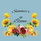 Summer's in Bloom Red and Pink Roses with Yellow Flowers by tribbledesign