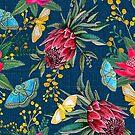«Flores australianas y mariposa polillas pintadas en acuarela.» de MagentaRose