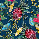 Australian flowers and butterfly moths painted in watercolor by MagentaRose