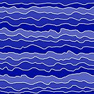 Four Shades of Blue with White Squiggly Lines by ShelleyYlstArt