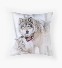 Timber Wolves Throw Pillow