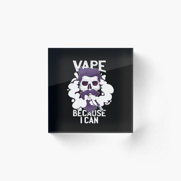 Funny Vape Skull Vaping Hipster Skeleton Beard E Cigarette Ecig Vapor Acrylic Block