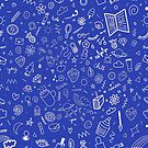 Blue and White Line Doodle Pattern by faydixondesign