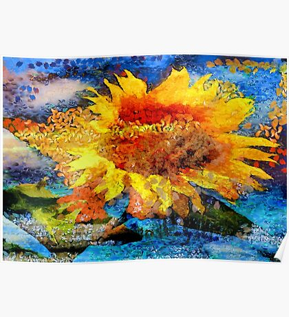Textured orange  Sunflower Poster