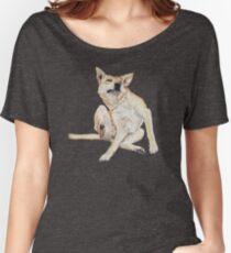 Cute funny germman shepherd cross breed dog scratching art  Women's Relaxed Fit T-Shirt