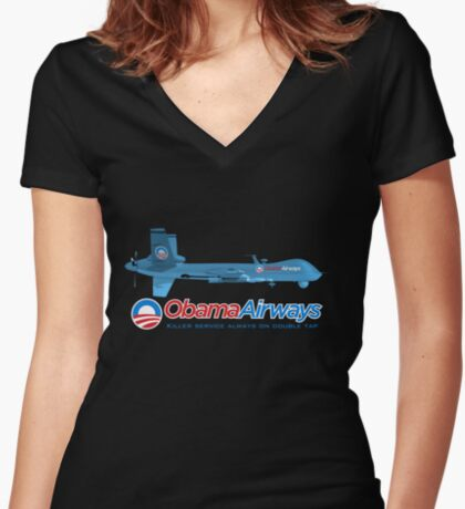 Obama Airways Women's Fitted V-Neck T-Shirt