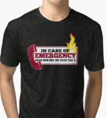 It Crowd Inspired - New Emergency Number - 0118 999 881 99 9119 725 3 - Moss and the Fire Tri-blend T-Shirt