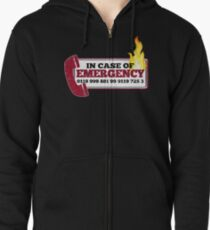 It Crowd Inspired - New Emergency Number - 0118 999 881 99 9119 725 3 - Moss and the Fire Zipped Hoodie