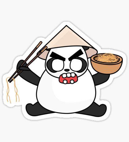 angry zombie noodle panda Glossy Sticker