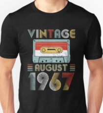 Funny Vintage August 1967 52nd Birthday Cassette Tape Retro Disco Style Unisex T-Shirt