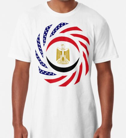 Egyptian American Multinational Patriot Flag Series Long T-Shirt