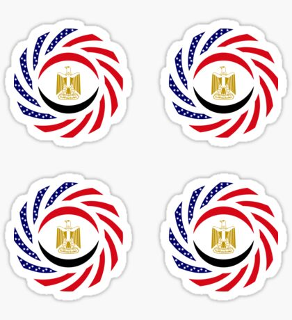 Egyptian American Multinational Patriot Flag Series Glossy Sticker