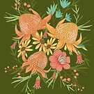 Australian Florals on Green by latheandquill
