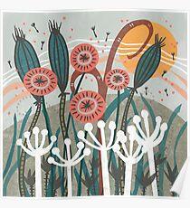 Wiese-Brise-Blumenillustration Poster