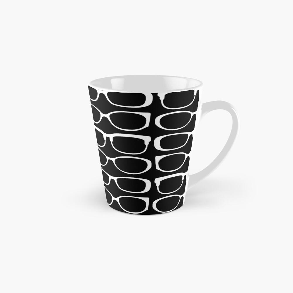 Specs. White Glasses on Black. Minimalist Optical Design Mug