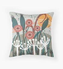 Meadow Breeze Floral Illustration Throw Pillow