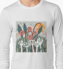 Meadow Breeze Floral Illustration Long Sleeve T-Shirt