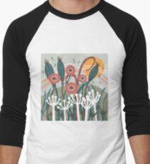 Meadow Breeze Floral Illustration Baseball ¾ Sleeve T-Shirt