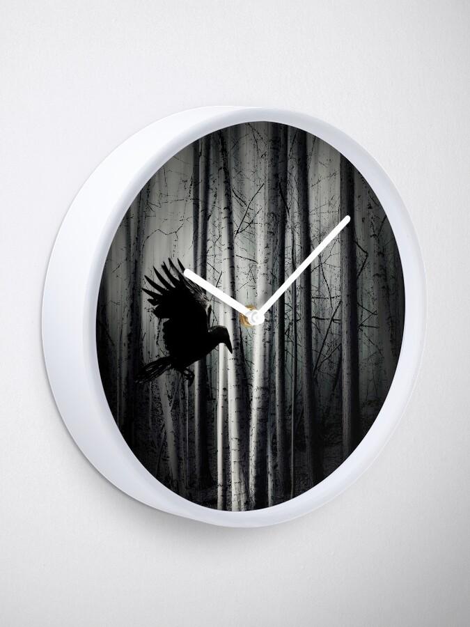 Alternate view of darker - Raven Clock