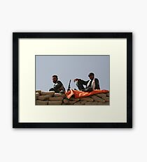 Two Afghan soldiers at war Framed Print