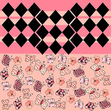 Pink and Black Harlequin Striped Butterflies and Flowers-Multiple Pattern Design  by ozcushionstoo