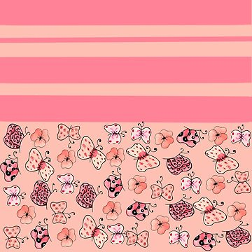 Pink and Light Pink Striped Butterflies and Flowers-Multiple Pattern Design  by ozcushionstoo