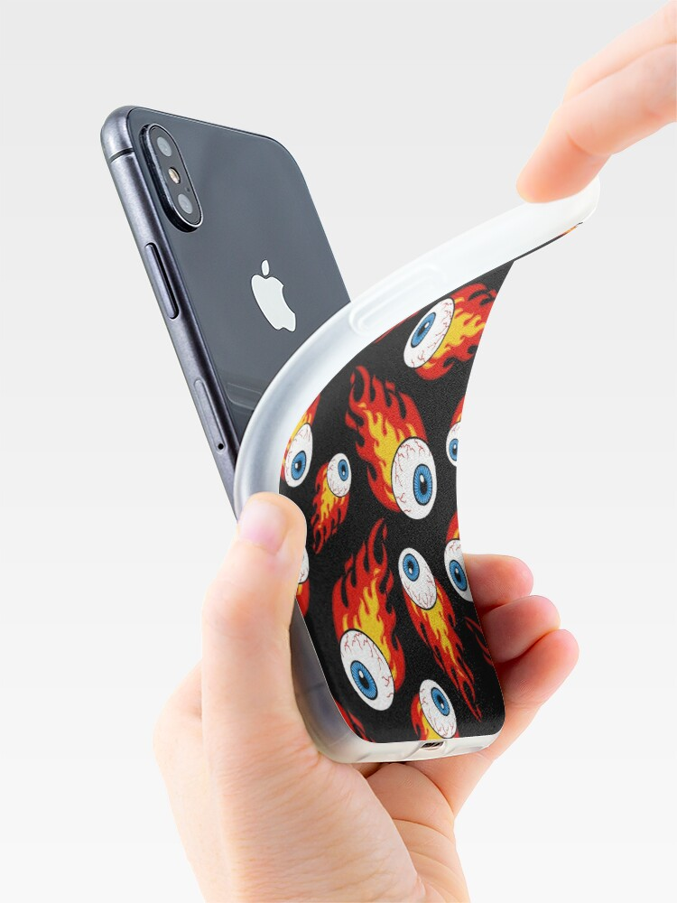 Alternate view of Flaming Eyeball Pattern iPhone Case & Cover