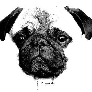 Mops Welpe weiß - französische Bulldogge, niedlich, lustig, Hund von fuxart
