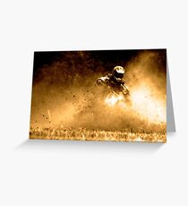 Gold Motorbike Enduro Action Greeting Card