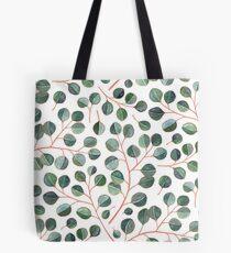 Einfache silberne Dollar-Eukalyptus-Blätter auf Weiß Tote Bag