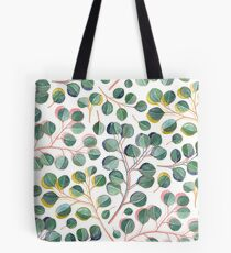 Einfache silberne Dollar-Eukalyptus-Blätter Tote Bag