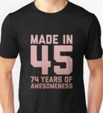 74th Birthday Gift Adult Age 74 Year Old Women Mom Grandma Slim Fit T-Shirt
