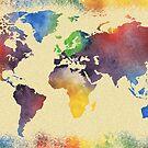 Hot and Vivid World Map Watercolor II by Irina Sztukowski