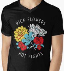 Blumen-Shirt T-Shirt mit V-Ausschnitt für Männer