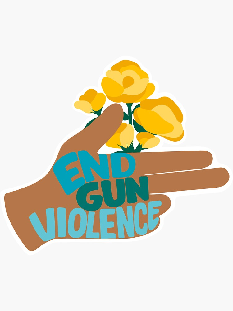END GUN VIOLENCE - Hand with Flowers Activism Illustration by soc4change