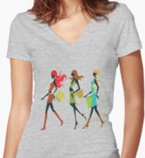Ladies t-shirt Women's Fitted V-Neck T-Shirt