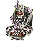 Traditional Reaper Cookin' Skulls Tattoo Design by FOREVER TRUE TATTOO