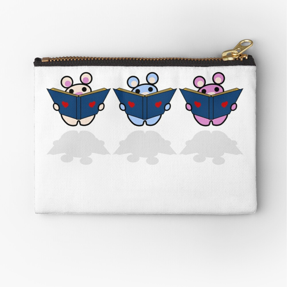 STPC: Three Chibis (Reading) Zipper Pouch