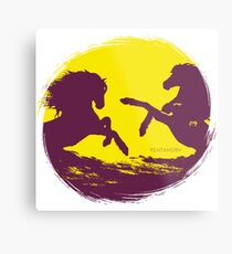 Horse riding sunset (colored) Metal Print