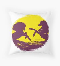 Horse riding sunset (colored) Throw Pillow