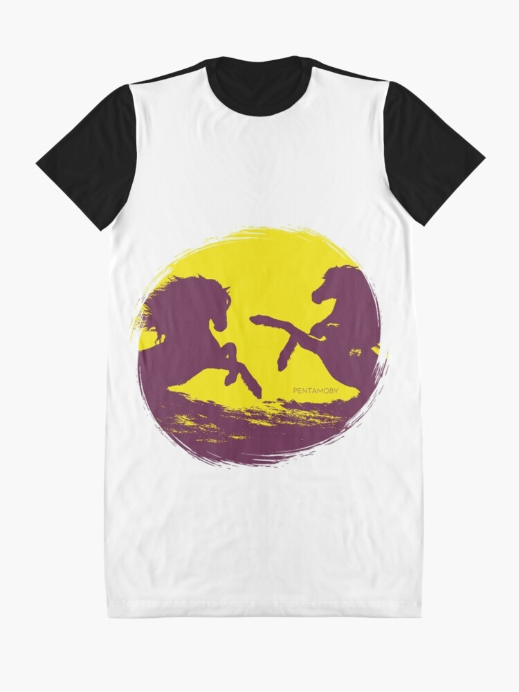 Alternate view of Horse riding sunset (colored) Graphic T-Shirt Dress