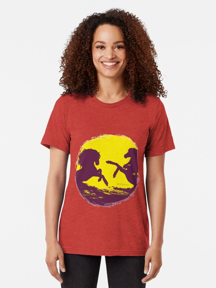Alternate view of Horse riding sunset (colored) Tri-blend T-Shirt