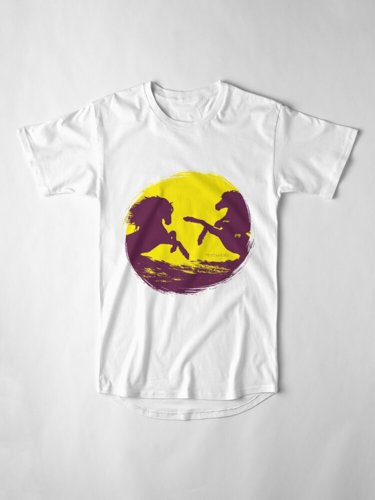 Alternate view of Horse riding sunset (colored) Long T-Shirt